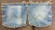 Two Jean Blue Denim Pockets Recycled Wranglers Crafts Sewing Quilt Western