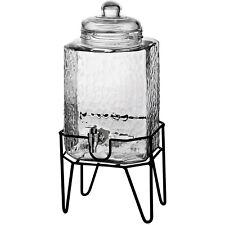 Beverage Dispenser Glass Jar Metal Stand 1.5 Gal Cold Drink Juice Tea
