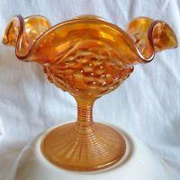 Vintage Imperial Carnival Glass Luster Grapes Marigold Compote Pedestal Bowl USA