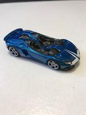 Hot Wheels Lamborghini Aventador Blue 2013 Convertible Race Car