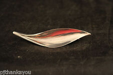 Hermann Siersbol Brooch Denmark Sterling Silver Leaf Design
