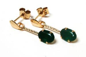 9ct Gold Green Agate drop oval earrings Gift Boxed Made in UK