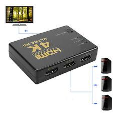 3 in 1 Out Verteiler Full HD 4k HDMI Splitter 1080P 3 Port Switch für 3D HDTV PC