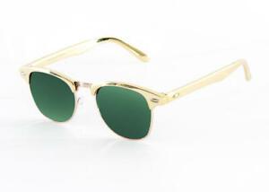 Retro 1980'S Vintage Club Gold Frame Green Fashion Sunglasses Mens Womens New
