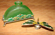 Jeweled & Enameled Glass Perfume Bottle, DRAGONFLY Stopper (Cloisonne, C24525)