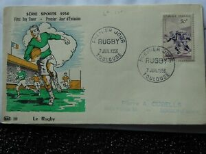 Premier jour d'emission first day cover 7 juillet 1956 serie sports RUGBY