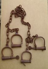 Jail Prisoner Wrist Handcuffs & Leg Iron Shackles Cuffs Keys Transfer Shackles