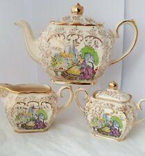 Beautiful Vintage Full Size Yellow Sadler Cube Teapot , Milk Jug and Sugar Bowl