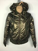 BNWT WOMENS L'URV BRONZE GOING FOR GOLD PUFFER ZIP UP HOOD PADDED JACKET SIZE XS