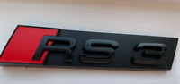*NEW* Audi RS3 Gloss Black Red Bonnet Front Hood Badge Grille Emblem Decal