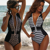 WOMENS Floral Zipper One Piece Women Bikini Monokini Swimsuit Swimwear Beach AP