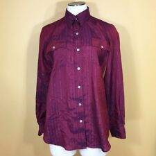 Vintage Chic by H.I.S. Women's Maroon Western Chic Button Down Blouse L Large