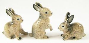 Miniature Ceramic Hand Painted Brown Rabbit Figurines - Set of 3 Different poses