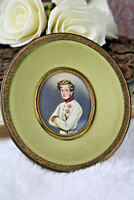 French 1900 Napoleon son duke officer military Miniature portrait painting signe