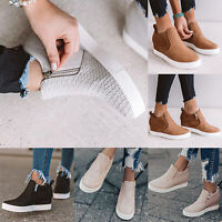 Women Platform Hidden Heel Wedge Loafers Sneakers Slip On Trainer Zipper Shoes