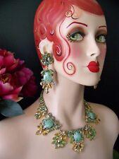 EX RARE Stunning Lilien Czech Rhinestone & Flawed Art Glass Couture Necklace Set