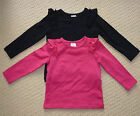 NWT Target Girls Stripe Red Black Frilly Long Sleeved Top x 2 Size 1 or 5 or 6