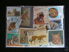 FELINS (Tigres, Lions, Chats ) : 100 TIMBRES DIFFERENTS