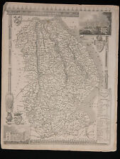 Original Vtg Antique LINCOLNSHIRE Map circa 1840s by Moule 19th C. Engraving