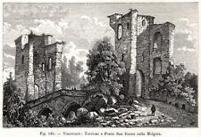 VIMERCATE: il Ponte di San Rocco. Monza e Brianza.Stampa Antica.Certificato.1894