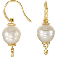 14KT Yellow Gold & Paspaley South Sea Pearl Earrings Ornate Design Shepard Hook