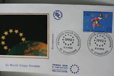 ENVELOPPE PREMIER JOUR SOIE 1992 MARCHE UNIQUE EUROPEEN