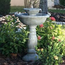 Weathered Stone Finished Resin Solar Fountain Bird Bath Patio Garden Yard Deck
