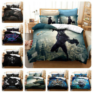 Black Panther 3PCS Bedding Set Quilt Duvet Cover Pillowcases Comforter Cover