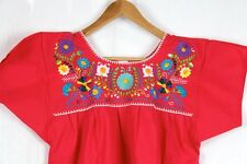Hand Embroidered Red Blouse Made Mexico Boho Size Medium STUNNING Quality