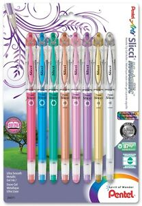 BG208BP8M Pentel Slicci Metallic Gel Pen, 0.8mm Fine, Pack of 8 Assorted Colors
