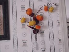 """WORTH IMPORTS  32"""" VELVET PUMPKIN SPRAY WITH LEAVES-EXCELLENT CONDITION"""