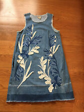 Anthropologie Holding Horses Denim Shift Dress Embroidery Applique, Size M