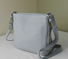 Fossil Preston Smokey Pale Blue Pebble Leather Crossbody Messenger