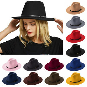 Mens Fedora Hats Women Jazz Hat Unisex Wide-Brim Panama Style Hat Felt Cap