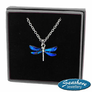 Dragonfly Necklace Blue Paua Abalone Shell Pendant Silver Jewellery Gift Boxed