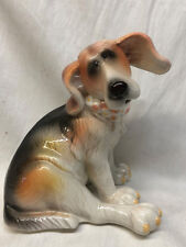 PACIFIC RIM HOUND DOG FIGURINE FIGURE SITTING FLORAL RING AROUND NECK 7 1/4""