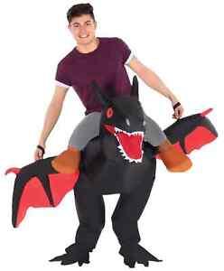 Black Dragon Inflatable Ride On Costume Adult Halloween Fancy Dress Daenerys