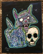 PSYCHO KITTY ORIGINAL GEORGE SILLIMAN ACRYLIC PAINTING OUTSIDER LOW BROW SURREAL