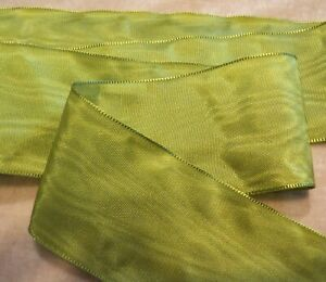 "3"" WIDE GERMAN MOIRE RIBBON - RAYON - CHARTREUSE GREEN"