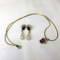 Purple & Clear Rhinestone Gold Tone Wedding Necklace Pearl Drop Earrings Set