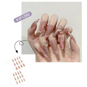 French Pink Long Coffin Heart Press On Nails with 3D Bow Leopard Tips Fake Nails