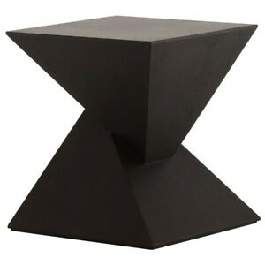 """17.8"""" Tall Side Accent Table Black Veneer Wood Double Pyramid Design"""