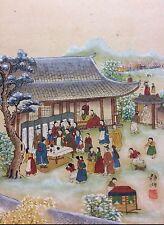 Scène de village japon estampe Japonaise réhaussée XIXe Japan Asie Asia Nippon