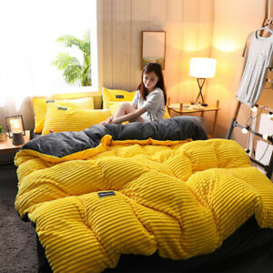 Dreamboat 4Pcs AB Side Thicken Corduroy Velvet Bedding Set Full Size Duvet Cover