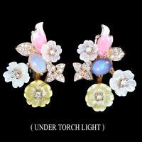 Unheated Oval Fire Opal 7x5mm Mop Cz 925 Sterling Silver Enamel Flower Earrings