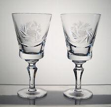 "PINWHEEL CRYSTAL Wine or Sherry Glasses 5 5/8"" PAIR, SYLVIA WOODWARD'S aka"