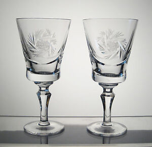 "PINWHEEL CRYSTAL Port, Wine, Sherry Glasses 5 5/8"" SET/2, SYLVIA WOODWARD'S aka"