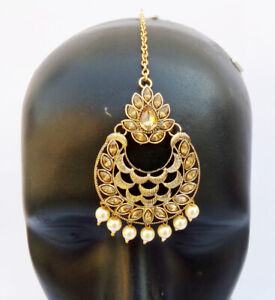 Asian Indian Wedding Hair Decoration Jewelry Gold Plated Pearl Cz Manng Tikka