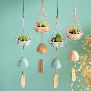 Nordic Wind Chime Resin Simulated Succulent Plants Hangging Bell Pendant Decor