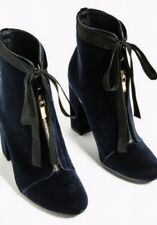 ZARA BNWT Block High Heel Midnight Blue Velvet Boots Ankle Sz UK2 EUR35